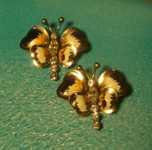 1940s Pair of CARL ART STERLING Butterfly Brooches